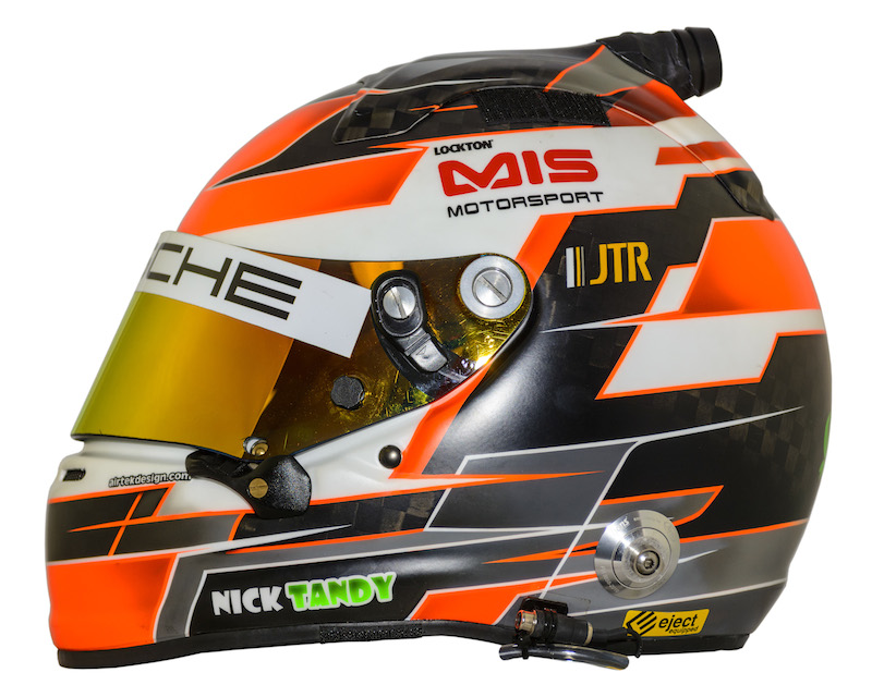 Nick Tandy's helmet he wears when racing Porsches