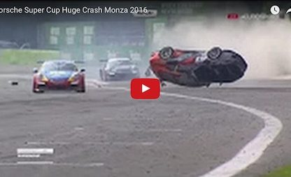 video clip showing porsche flipping during crash in Porsche supercup race at Monza