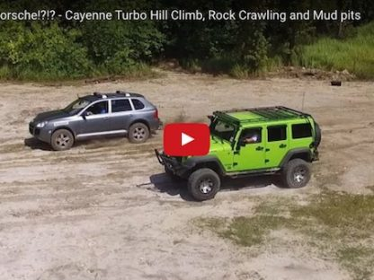 Jeep Wrangler vs. Porsche Cayenne Turbo Hill Climb, Rock Crawing & Mud Pits