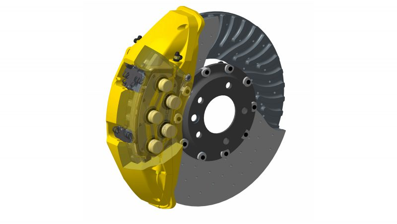 TEN-PISTON BRAKE CALIPERS are being used for the first time on the front axle of the Porsche Cayenne Turbo S. In conjunc­tion with the ceramic brake discs with a diameter of 420 milli­meters (also standard), they ensure the highest fading stability and exceptional responsiveness even at high speeds.