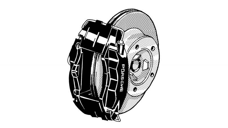 MONOBLOC ALUMINUM BRAKE CALIPERS come standard in the first Boxster generation. The four-piston monobloc fixed calipers are manufactured from a single piece for improved heat dispersion.