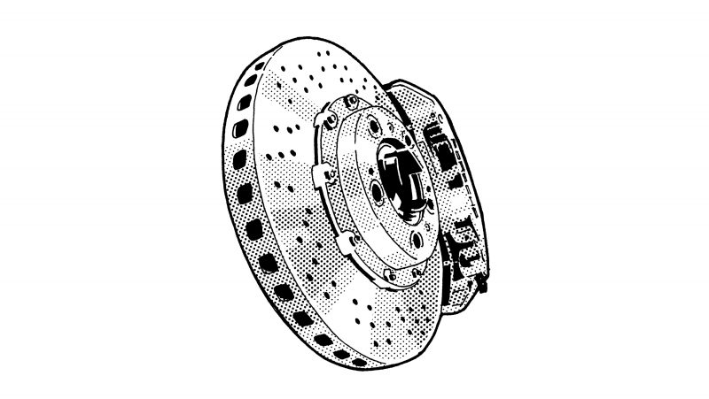 The PCCB (Porsche Ceramic Composite Brake) celebrates its debut in the 911 Turbo and 911 GT2. The ceramic brakes are 50 percent lighter than gray cast-iron discs with comparable braking power. This advance reduces the unsprung mass—and enhances driving comfort and brake performance.