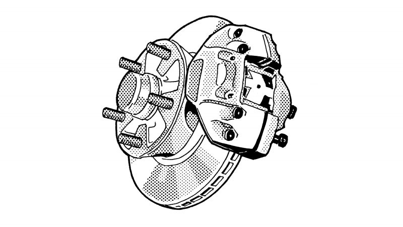 INTERNALLY VENTED BRAKE DISCS make their premiere as standard equipment in the 911 S—front and rear. The cooling openings between the friction surfaces dissipate the heat generated while braking.