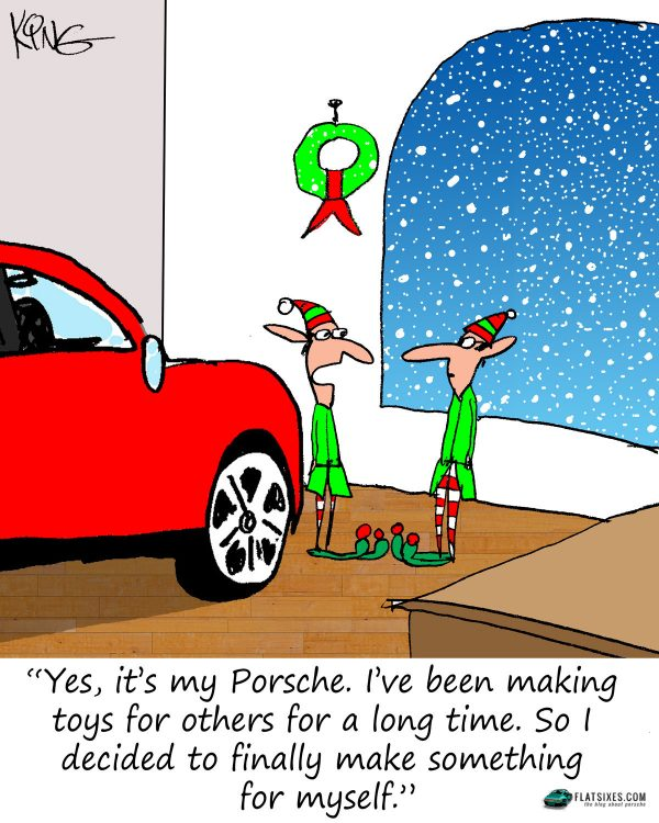 Santa's elfs building themselves a Porsche cartoon