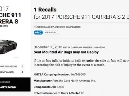 Porsche Recalling Small Number of 2017 Caymans, Boxsters and 911s