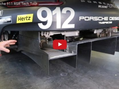 Kevin Estre giving a video tech tour of the mid engined Porsche 911 RSR
