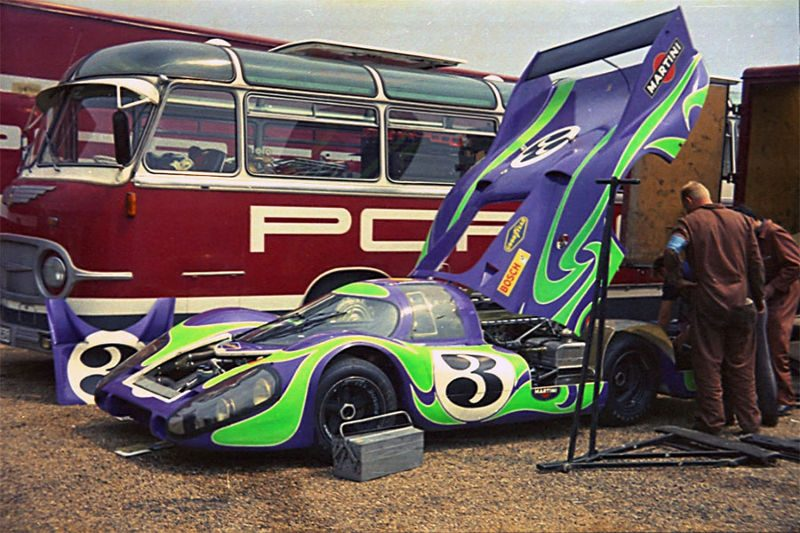 "Martini Racing's famous ""Hippie"" Porsche 917 piloted by Gerard Larousse / Willy Kauhsen"