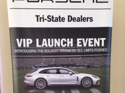 Porsche panamera tri-state dealer launch event placard