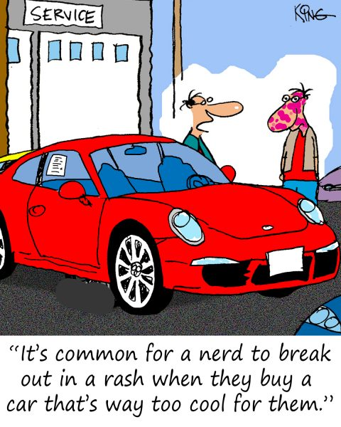 porsche cartoon showing guy at dealership buying car with rash