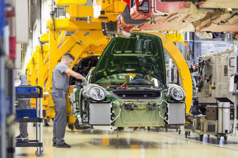 one millionth porsche 911 on assembly line