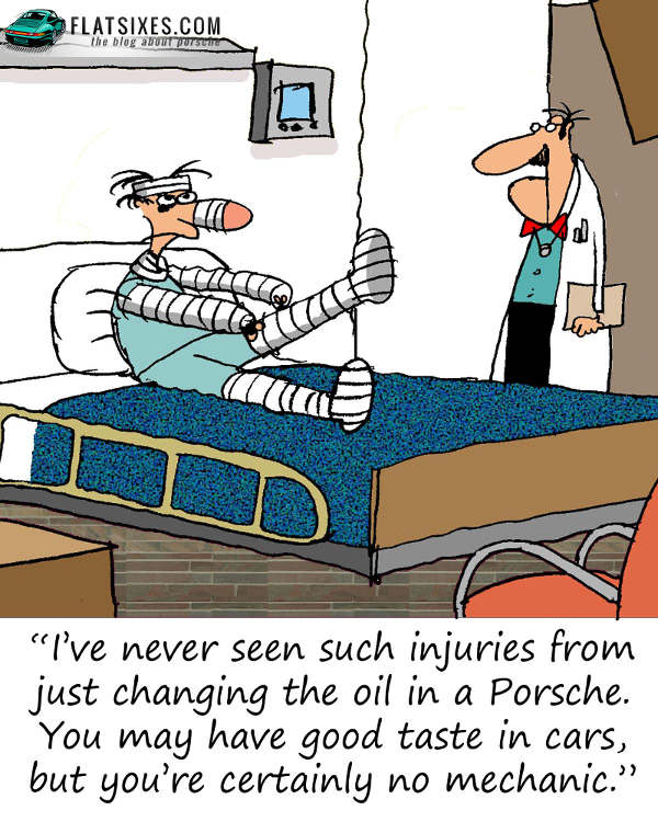 Porsche Mechanic Cartoon