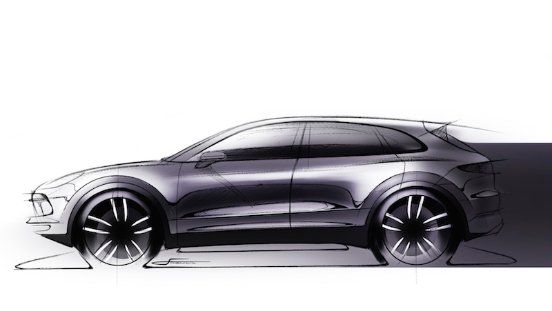 design sketch of the 2018 Porsche Cayenne