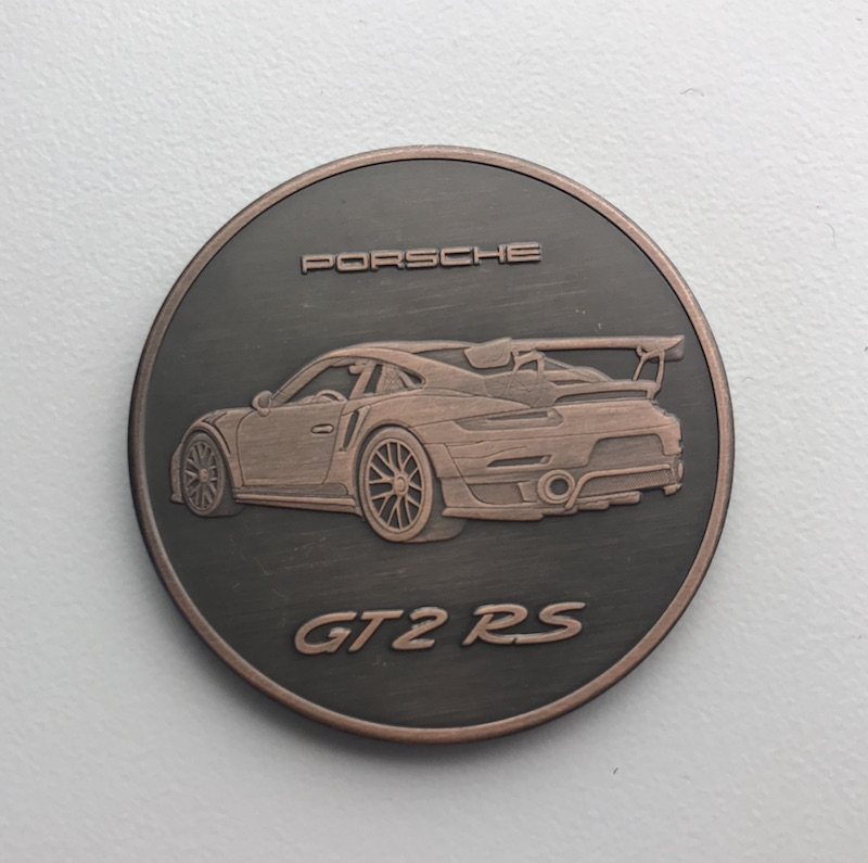 GT2 RS on the 2018 Porsche Calendar Coin