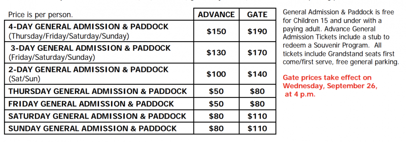 chart showing ticket pricing for Rennsport Reunion VI