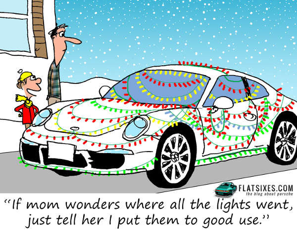 christmas themed Porsche comic strip