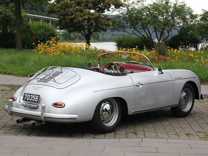 Silver Porsche 356 Speedster with top down