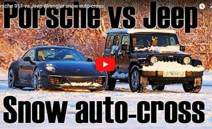 Porsche 911 vs. Jeep Wrangler: Snow Autocross Showdown.