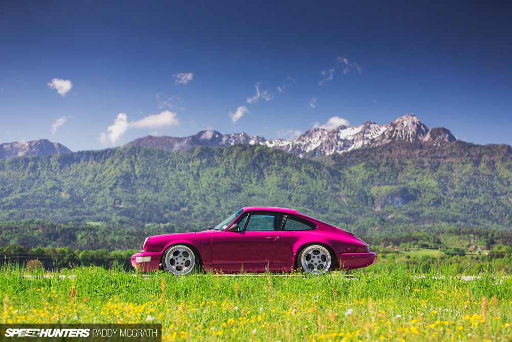 Rubystone Red Porsche 964 In The Mountains