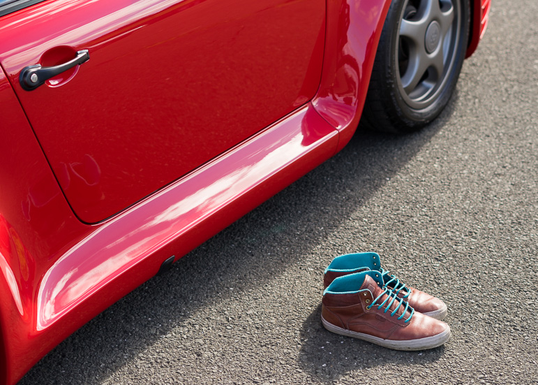Shoes sitting outside the 959