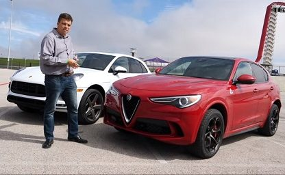 Porscche Macan vs Alfa Stelvio on the racetrack