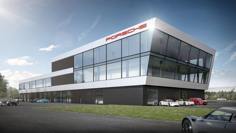 what the Porsche experience center at Hockenheim will look like