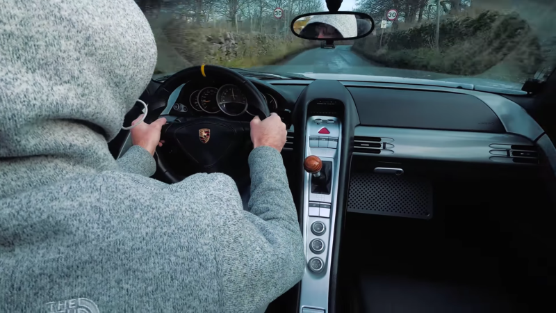 The Joy of Driving a Carrera GT on a Wintry Mountain Road