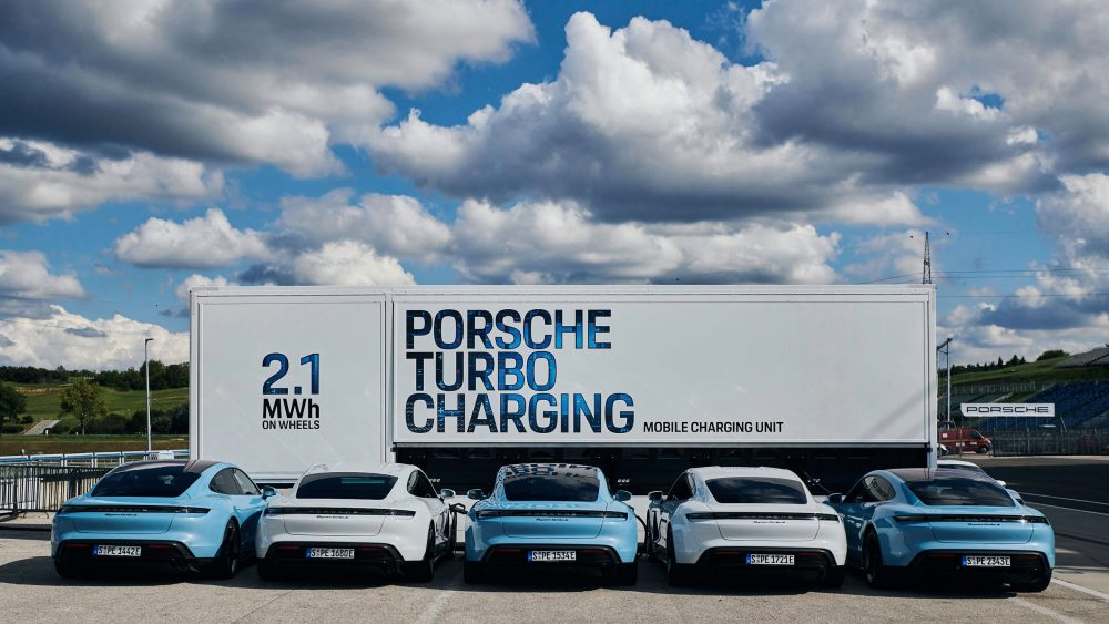 Porsche's High-Power Charging Trucks Make Electric Track Days Possible